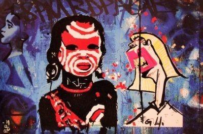 Street Art de Pep's coloré et disponible à la commande