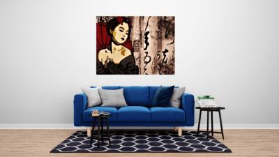 Oeuvre sur Métal Geisha mise en situation dans un salon