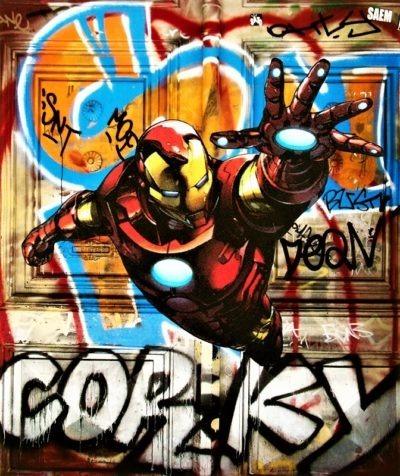 Iron Man en street art par Pep's artiste peintre
