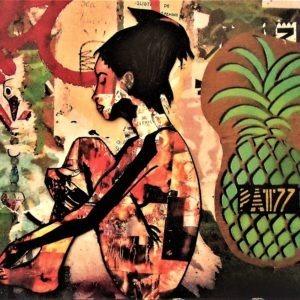 Tableau sur métal de l'artiste Pep's représentant un ananas et une femme