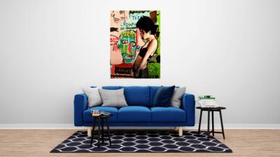 Mise en situation d'une toile dans un salon