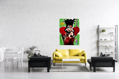 Mise en situation d'une oeuvre sur métal Basquiat