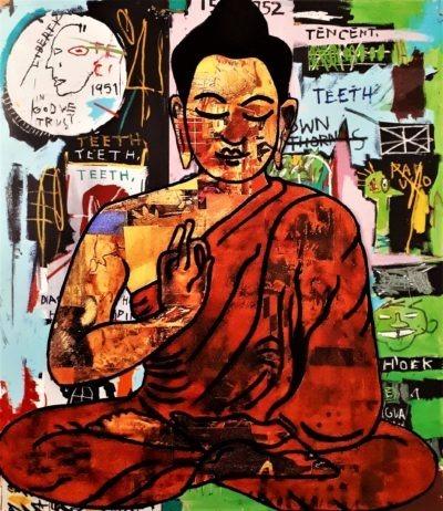 Reproduction de Bouddha par l'artiste peintre Pep's