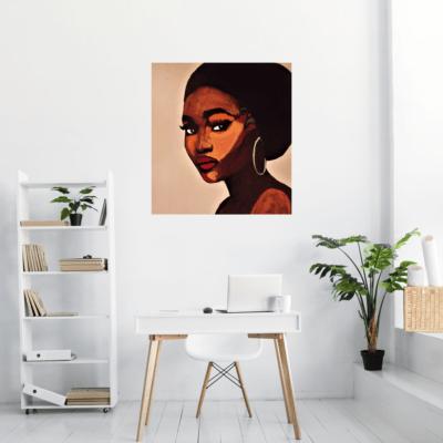 Mise en situation du tableau sur métal Black Lady