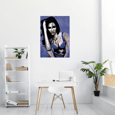 Le tableau Blue Lady dans un bureau