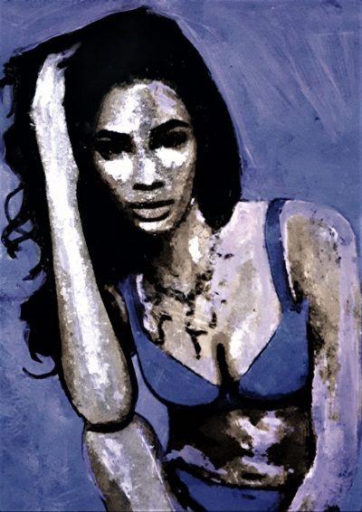 Peinture d'une femme sur métal par l'artiste peintre Pep's