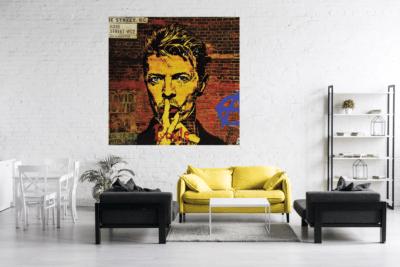 L'oeuvre Bowie de Pep's mis en situation dans un salon