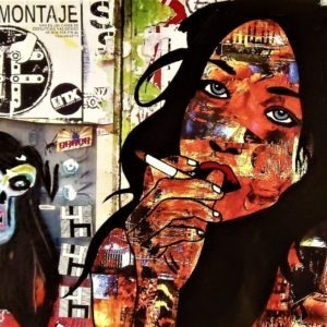 Femme à la cigarette, reproduction sur métal par l'artiste Pep's