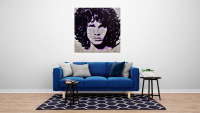 Jim Morrison en tableau dans un salon, artiste Pep's