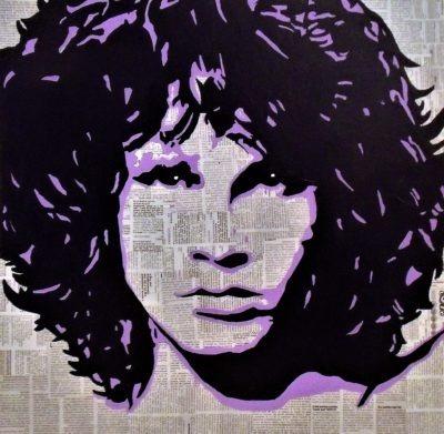Le célèbre Jim Morrison reproduction sur tableau en métal par Pep's le peintre
