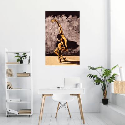 Le tableau sur métal de la danseuse dans un bureau