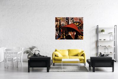 Tableau sur métal de Pep's mise en situation dans un salon moderne
