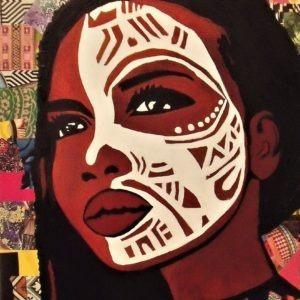 Tableau sur métal d'un masque africain par Pep's
