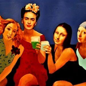 tableau entre copines par l'artiste peintre Pep's