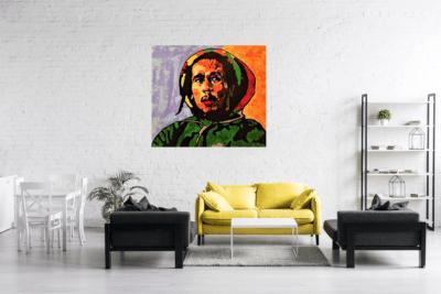 Bob en situation dans un salon, tableau coloré
