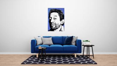 Tableau de Gainsbourg en mise en situation dans un salon