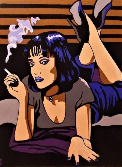 La célèbre Mia du film Pulp Fiction représentée par l'artiste peintre Pep's